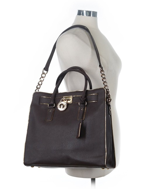 Michael Kors Hamilton North South Large Specchio Satchel Coffee Brown Saffiano Leather Tote Michael Kors Hamilton North South Large Specchio Satchel Coffee Brown Saffiano Leather Tote Image 1