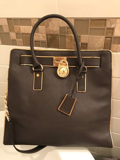 Michael Kors Large North South Metal Gold Mocha Tote in Coffee Brown Image 1