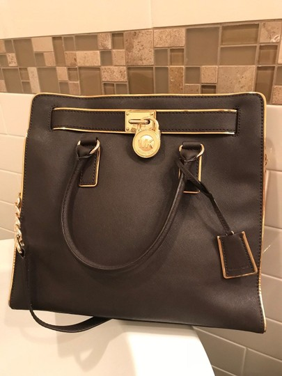 Michael Kors Large North South Metal Gold Mocha Tote in Coffee Brown Image 2