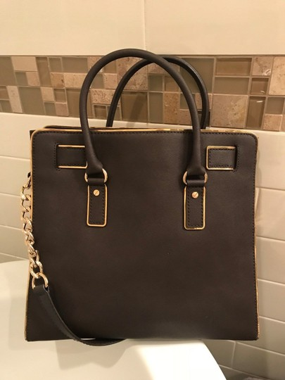 Michael Kors Large North South Metal Gold Mocha Tote in Coffee Brown Image 3