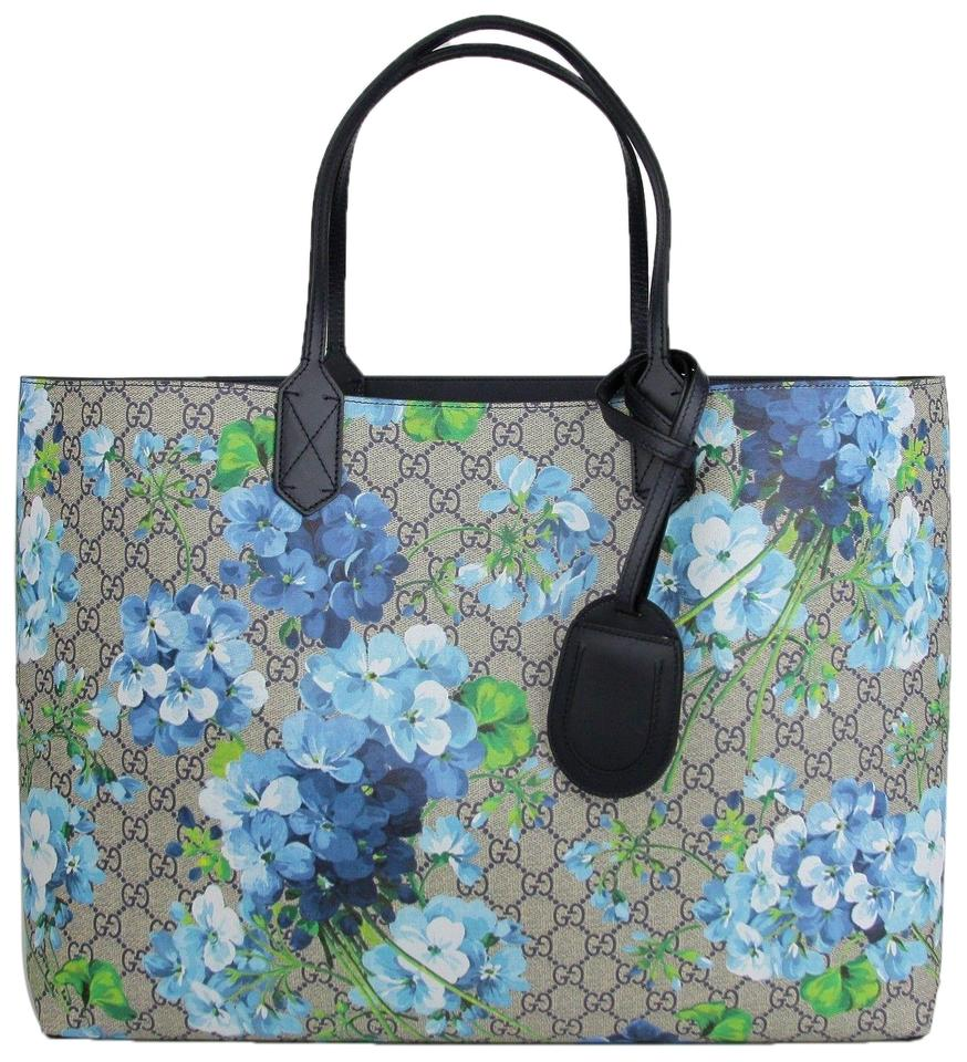 0b9293cefd132 Gucci Beige Blue Bloom Reversible 368571 8499 Beige Blue Gg Coated Canvas  Tote