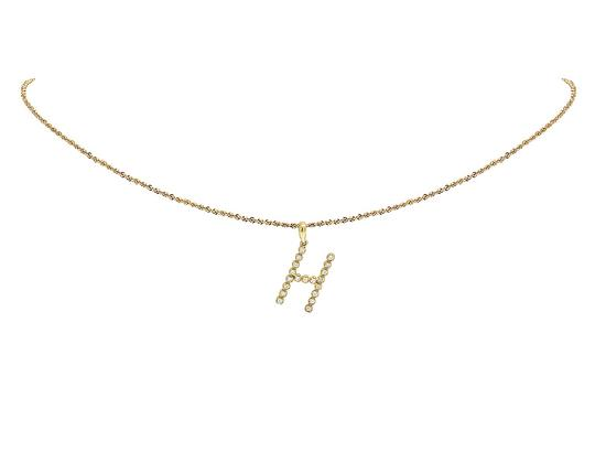 Jewelry Unlimited 10K Yellow Gold Diamond Letter H Initial Pendant 0.22 Ct 1