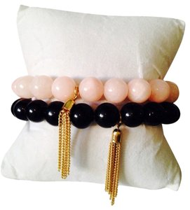 2 Piece Set Black Onyx & Peach Agate Gemstone With Gold Tassel Stretch Bracelet