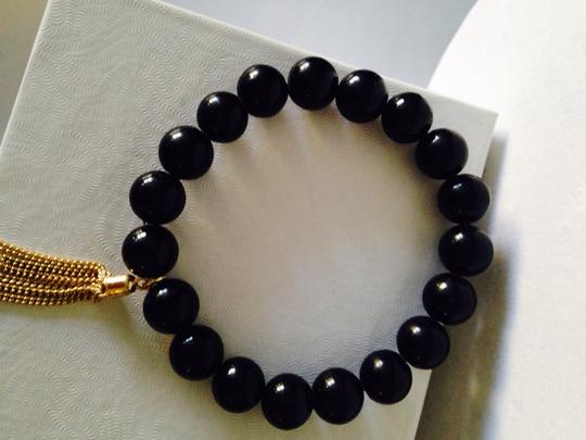 Other 2 Piece Set Black Onyx & Peach Agate Gemstone With Gold Tassel Stretch Bracelet