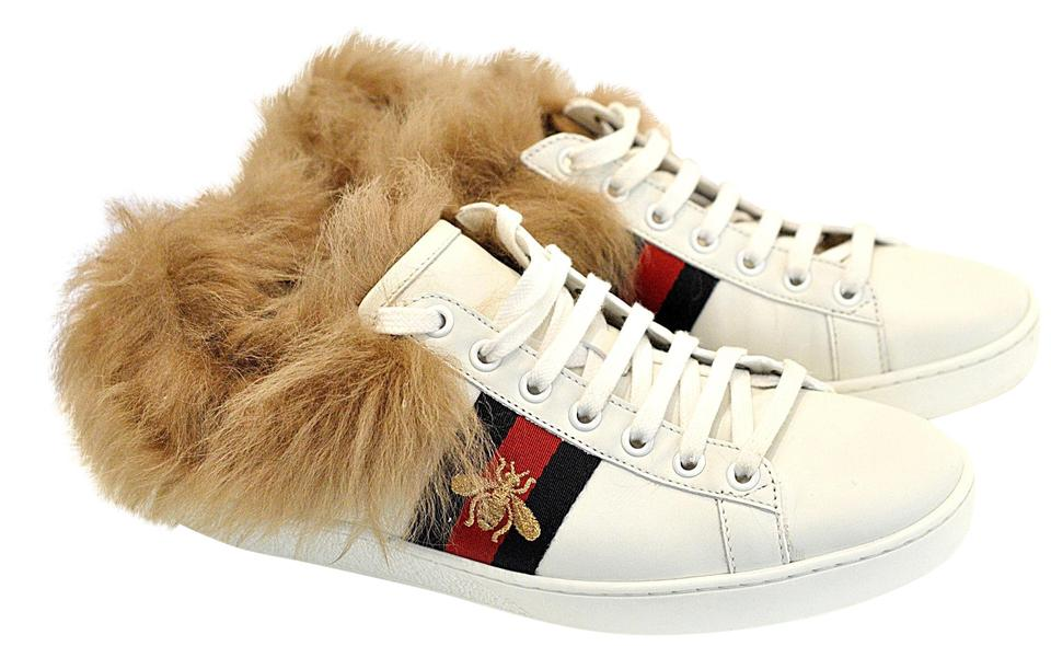 8c67997f2 Gucci White Ace Sneaker with Wool Fur Sneakers Size EU 38 (Approx ...