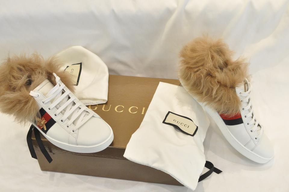 60d02637477 Gucci White Ace Sneaker with Wool Fur Sneakers Size EU 38 (Approx. US 8)  Regular (M