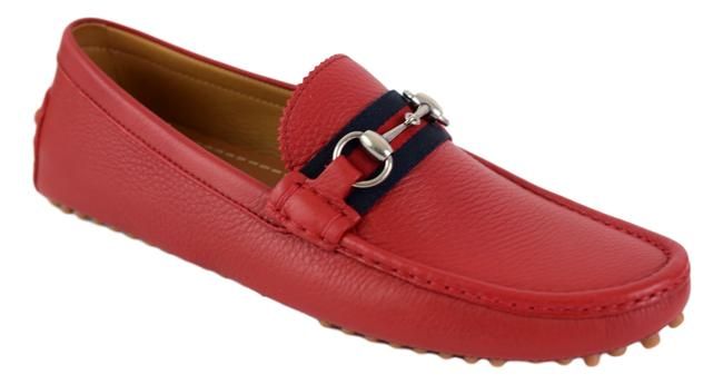 Gucci Red 322741 Men's Web Loafers Us 8