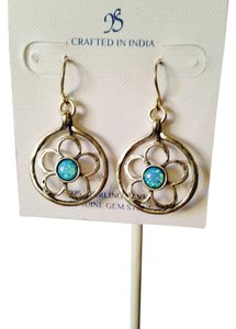 JS Collections NWOT Opal Cabochon Flower In Sterling Silver Dangle Earrings