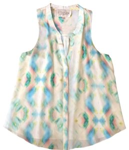Rory Beca Top green blue coral on cream