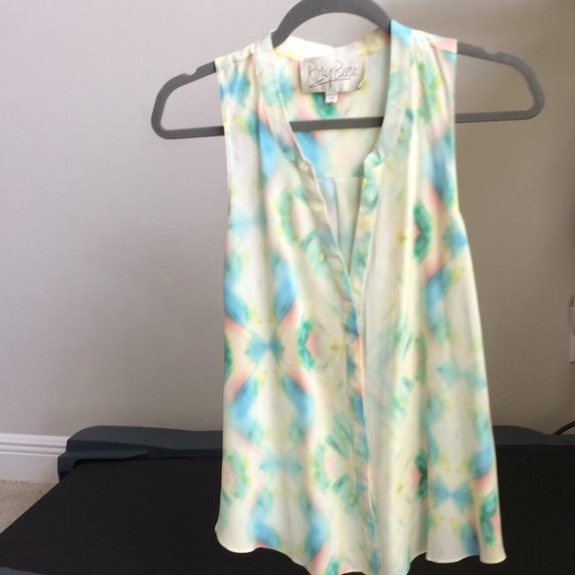 Rory Beca Top green blue coral on cream Image 1