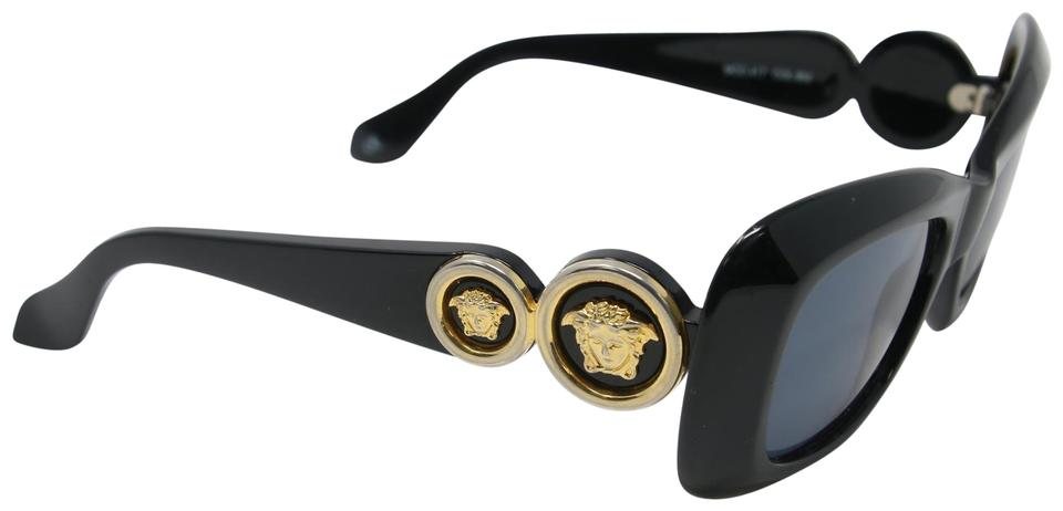 e235ae188cc Versace Black Signature Gianni Vintage 90 s Mod 417 Double Gold Medusa Head  Sunglasses