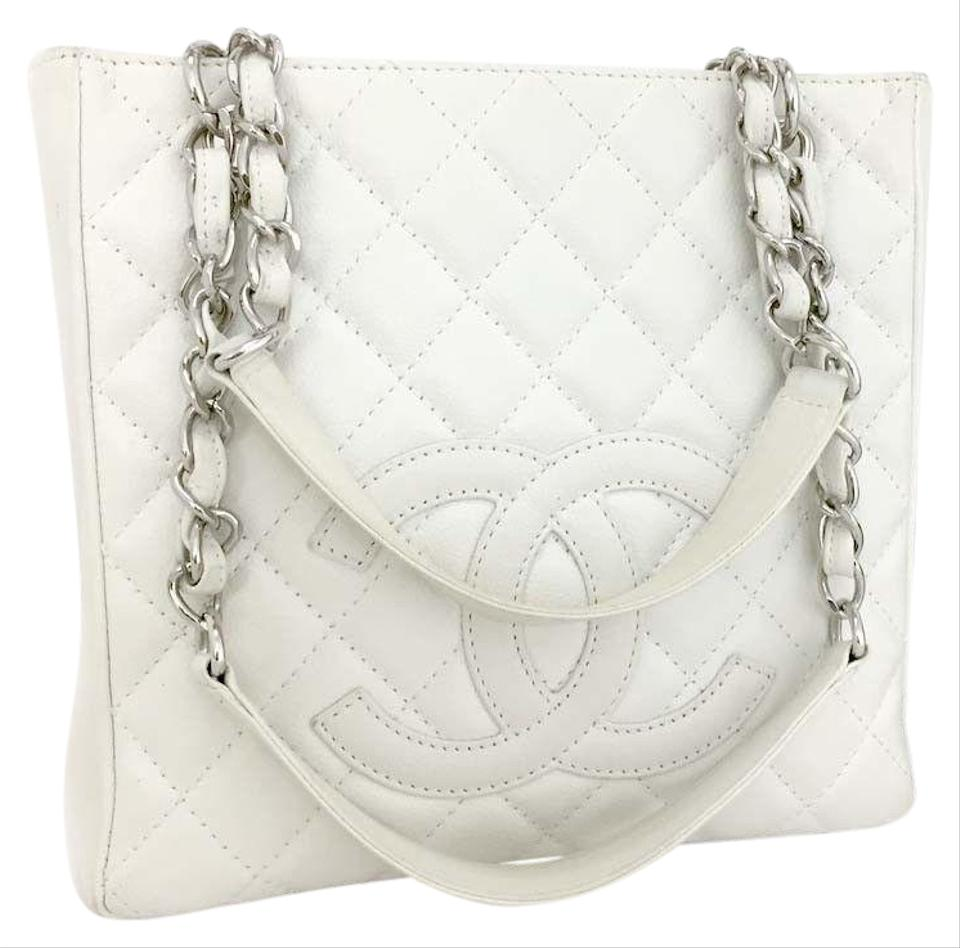 f553bd32c7f0f3 Chanel Shopping Tote Quilted Silver Hardware Skin Chain Grand White ...