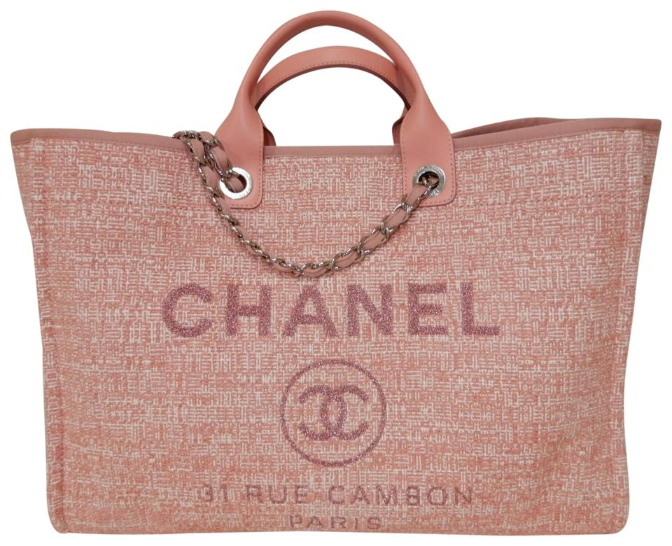 b0f5d2bb6cd398 Chanel Deauville Grand Large Shopper 2018 Pink Canvas Tote - Tradesy