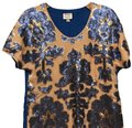 Tracy Reese Top Nude and Cobalt Blue Image 0