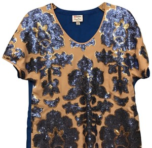 Tracy Reese Top Nude and Cobalt Blue