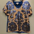 Tracy Reese Top Nude and Cobalt Blue Image 1