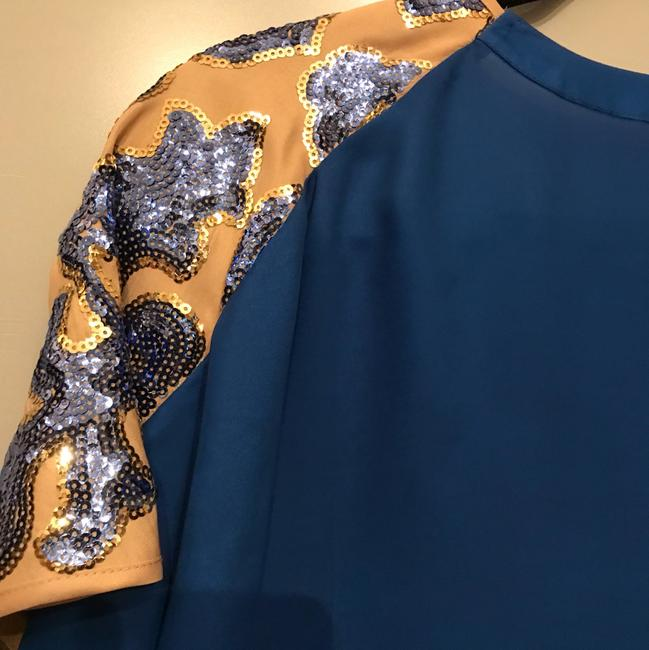 Tracy Reese Top Nude and Cobalt Blue Image 5