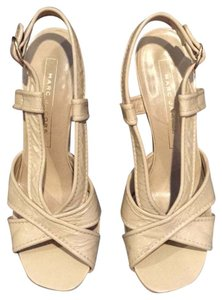 Marc Jacobs Leather Metallic Patent Beige Wedges