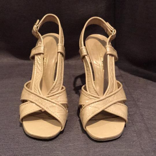Marc Jacobs Leather Metallic Patent Beige Wedges Image 2