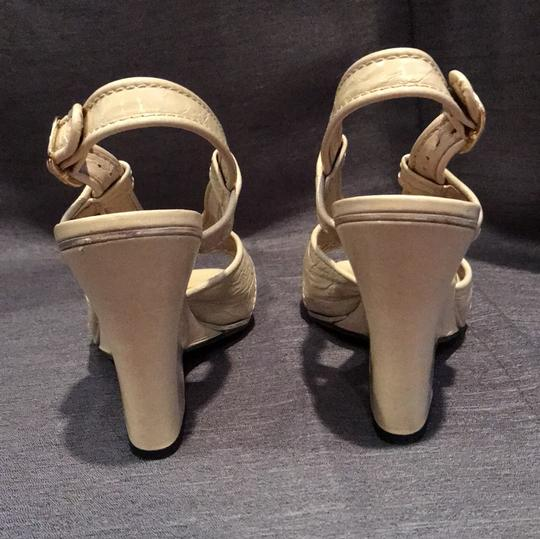 Marc Jacobs Leather Metallic Patent Beige Wedges Image 3