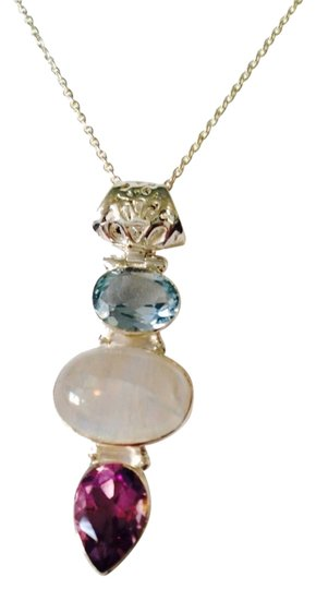 JS Collections NWT Blue Topaz, Rainbow Moonstone & Amethyst Gemstones In Sterling Silver Necklace