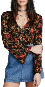 Free People Longsleeve Floral Print V-neck Crop Top