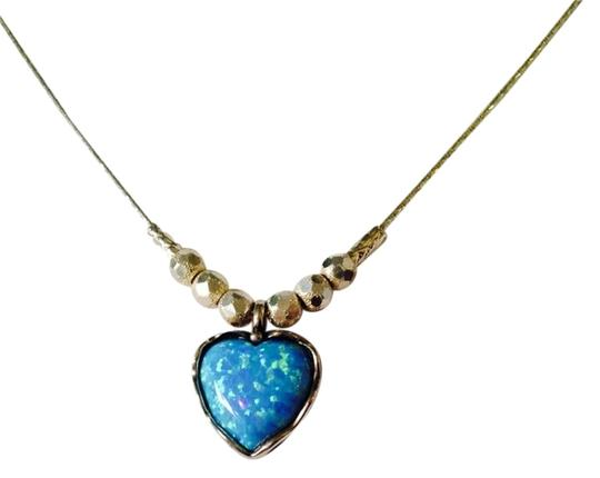 JS Collections NWT Opal Cabochon Heart With Faceted Sterling Silver Beads Necklace