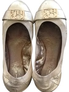 Coach Champagne Silver Light Gold Flats