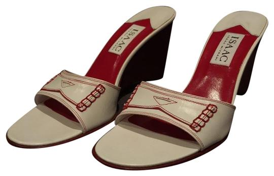 Isaac Mizrahi Wedge Stitching Platform Leather Red white Sandals Image 0