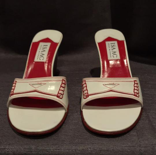 Isaac Mizrahi Wedge Stitching Platform Leather Red white Sandals Image 1