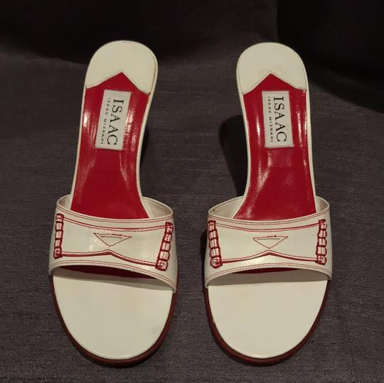 Isaac Mizrahi Wedge Stitching Platform Leather Red white Sandals Image 2