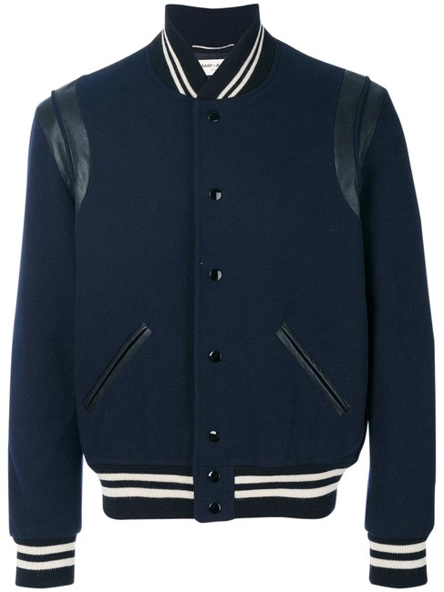 Saint Laurent Blue Teddy Varsity Mens Jacket Size 8 (M) Saint Laurent Blue Teddy Varsity Mens Jacket Size 8 (M) Image 1