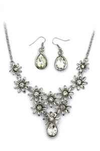 Ocean Fashion Brilliant White flowers color crystal necklace earrings set