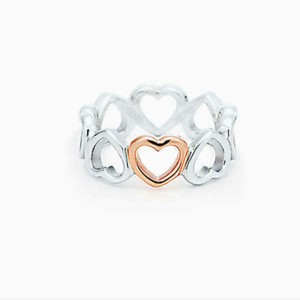 Tiffany & Co. 18k Rose Gold and Silver Hearts ring