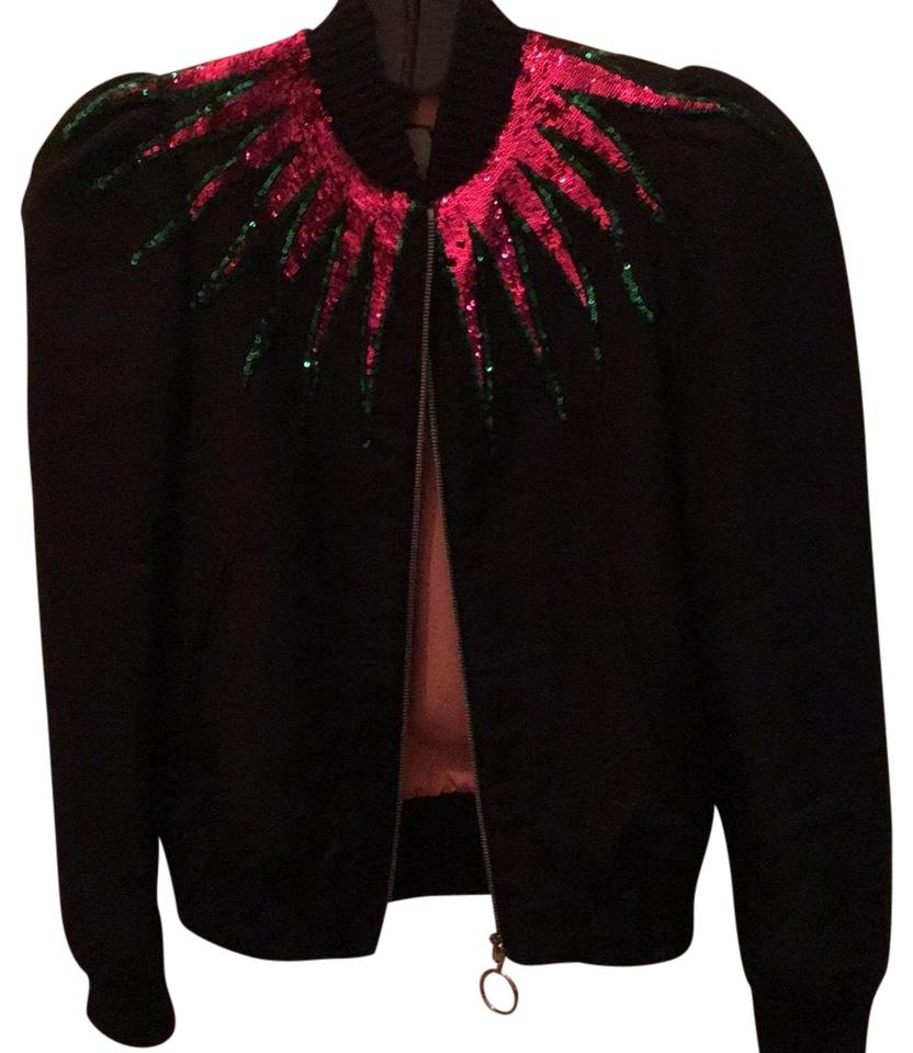 28c6d7212 Gucci Black with Multicolored Sequins Puffed Sleeve Bomber 36 Jacket ...