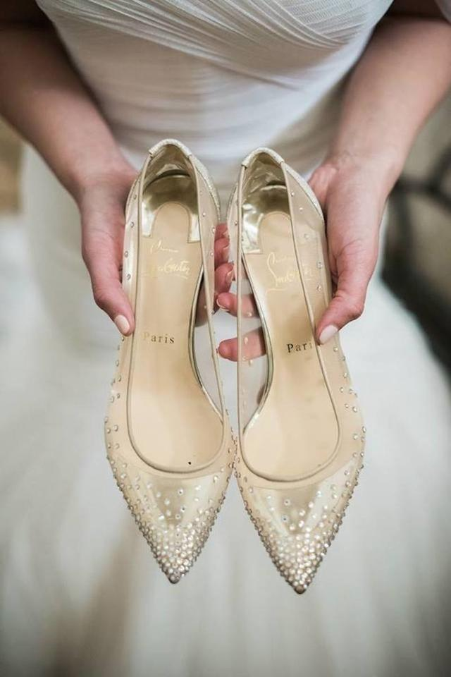 9a76d2af0d Christian Louboutin Glitter Sparkle Neutral mesh with Crystals Pumps Image  5. 123456