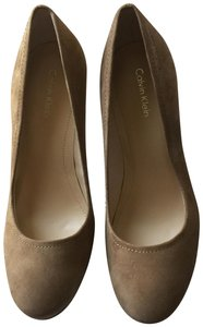 Calvin Klein Suede Snakeskin Patent Leather Date Light Taupe Platforms