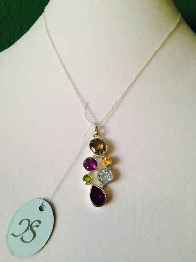 JS Collections NWT Multi-Gemstone Faceted In Sterling Silver Necklace