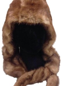 Tan Mink Hat mink hat with attached scarf and Pom poms