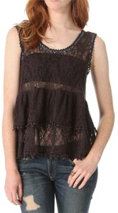 Free People Sleeveless Lace Tiered Sheer Top