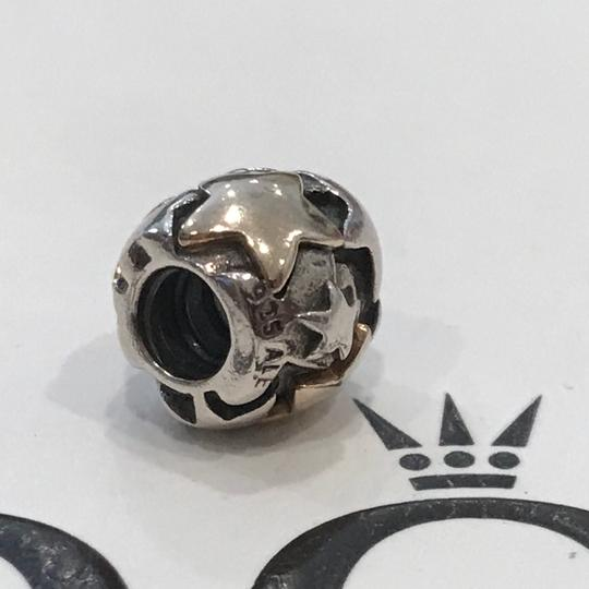 PANDORA Authentic Pandora Golden Stars Charm Authentic Retired Pandora Charm Sterling Silver and 14k Yellow Gold Image 3