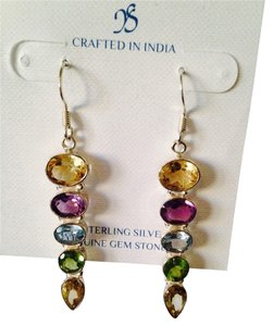 JS Collections NWOT Multi Faceted Gemstones In Sterling Silver Dangle Earrings