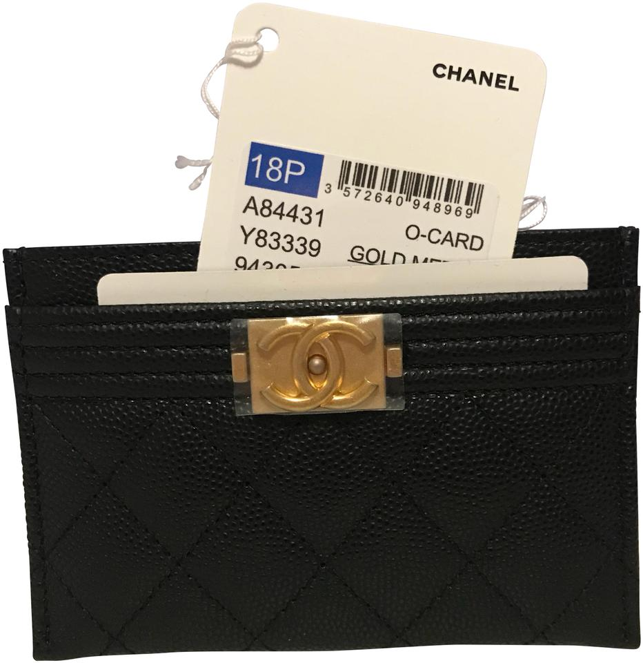 Chanel Boy Card Holder In Black Caviar Leather with Matte Gold ...