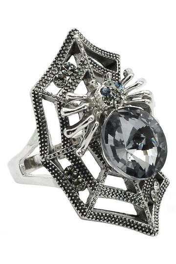 Ocean Fashion Silver Special Spider Crystal Ring Image 1