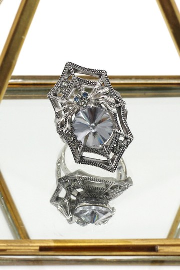 Ocean Fashion Silver Special Spider Crystal Ring Image 4