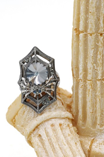 Ocean Fashion Silver Special Spider Crystal Ring Image 5