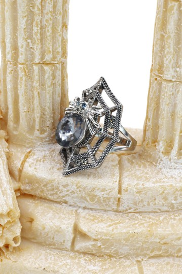 Ocean Fashion Silver Special Spider Crystal Ring Image 6