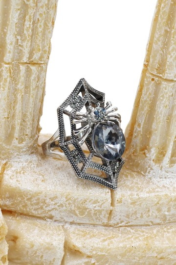 Ocean Fashion Silver Special Spider Crystal Ring Image 7