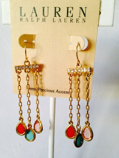 Ralph Lauren NWOT Faceted Multi Gemstone Dangle Earrings