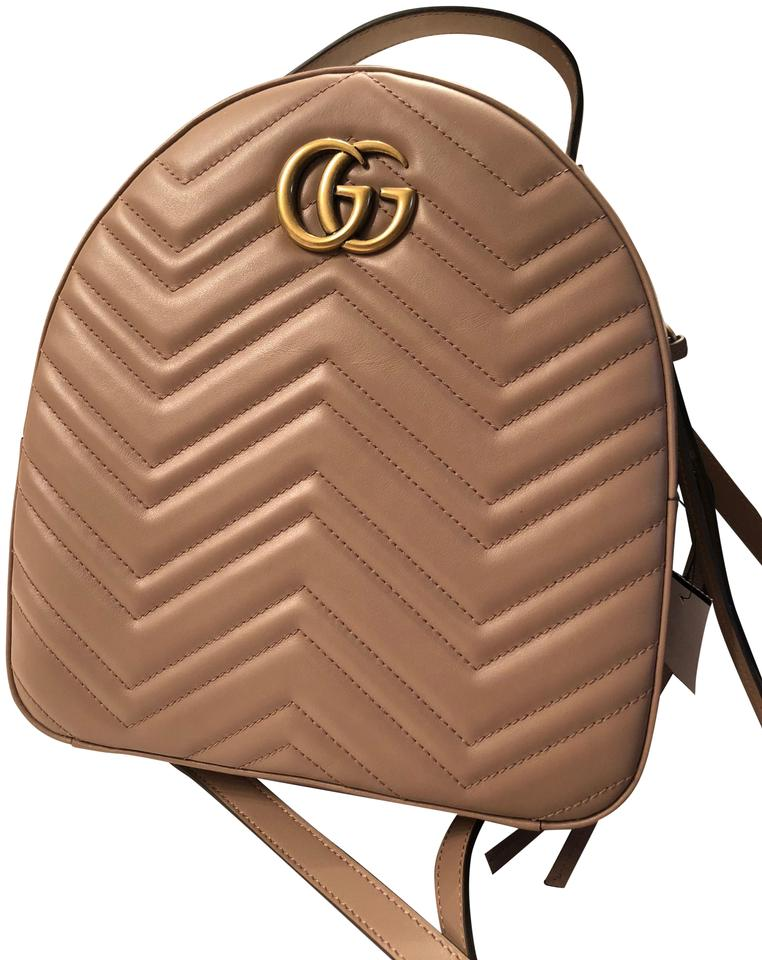 16c2f5d4b Gucci Marmont Gg Quilted Nude Leather Backpack - Tradesy